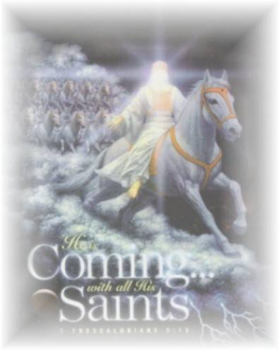 Jesus returns on a white horse with the saints on horses too! (notice he's not wearing sandals waving a peace sign)