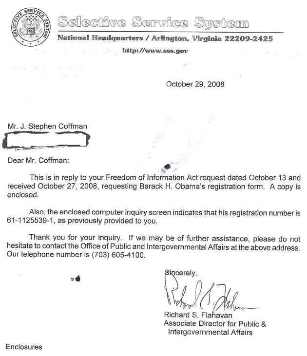 ObamaS Forged Selective Service Registration Document  ObamaS